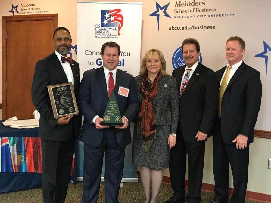 (L-R) are Marcus Verner, executive secretary, Oklahoma District Export Council; Steve Smith, director of international sales, Vacuworx; Oklahoma Gov. Mary Fallin; Chuck Mills of Mills Machine Company Inc.; and Tom Strauss, Southern regional director, U.S. commercial service.