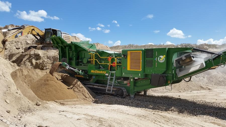 "The I54v3's new larger 8' double deck prescreen brings more efficient fines removal to production, maximizes the crusher's productivity, and delivers screened product via a straight chute to a new, wider 32"" side conveyor."