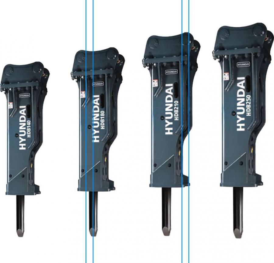 The four mid-sized models in the Hyundai HDB series of hydraulic breakers are designed for use on excavators in the 14- to 25-ton (12.7 to 22.6 t) range.