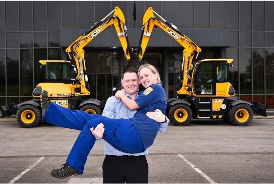 Wayne Griffin and Ruth Laurie at the JCB Heavy Products site in Uttoxeter. The couple are getting married after meeting on a production line. Image via Burton Mail.