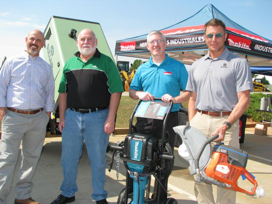 (L-R): Manufacturer representatives came out to join Michael Whitener, and the staff of Yancey Rents, including: Mark Miller, Sullair; Tommy Clark, Makita; and Randy Silver of Husqvarna.