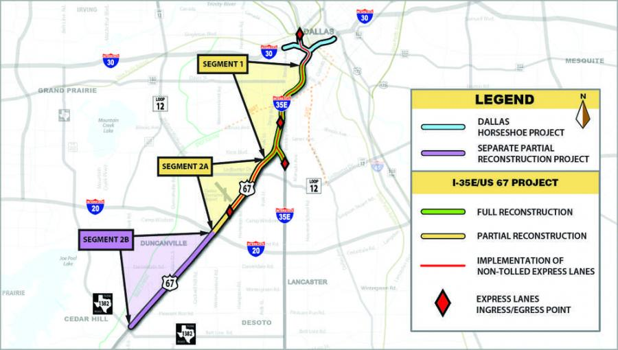 The $565 million Southern Gateway project will rebuild and widen Interstate 35E (I-35E) south of downtown Dallas.