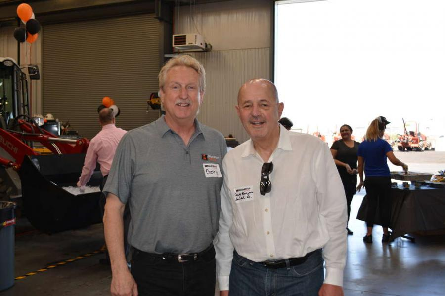 Gerry Pierick (L), sales manager of Ditch Witch of Arizona, meets up with Jerry Mangone of Sunstate Equipment.