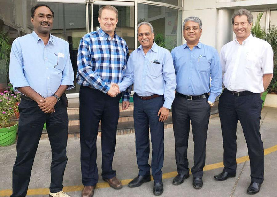 Kent Godbersen, GOMACO's Vice President of Worldwide Sales and Marketing; Anand Sundaresan, Schwing Stetter's Chairman; V.G. Sakthikumar, Schwing Stetter's Managing Director; and Rory Keogh, GOMACO International Ltd.'s Managing Director.