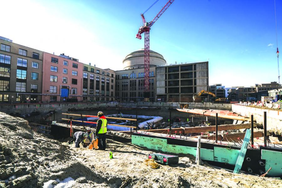 The enabling phase of construction began in June 2014, and the target occupancy date is June 2018. Lillie Paquette/MIT School of Engineering photo