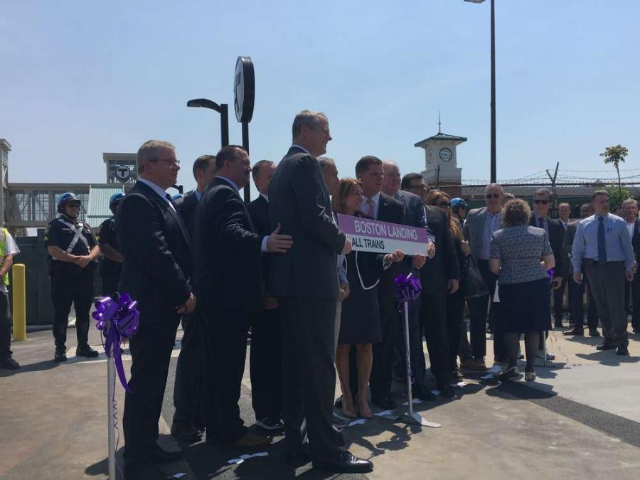 Celebrating a successful collaboration between the state, city, and New Balance at Boston Landing Station. Gov. Charlie Baker Twitter photo