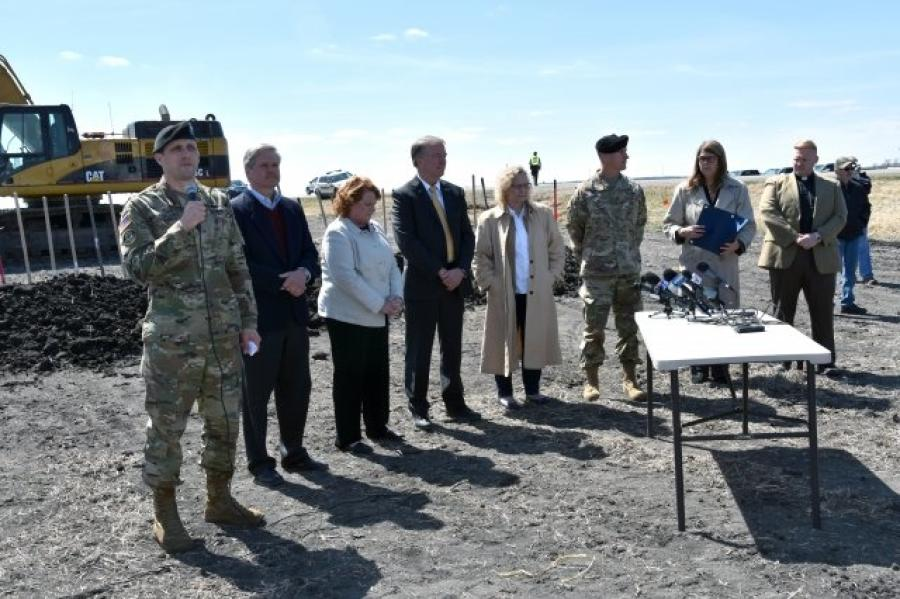 The U.S. Army Corps of Engineers, St. Paul District, and the Fargo-Moorhead Diversion Board of Authority hosted a 1997 Flood Commemoration and Groundbreaking Ceremony for the Fargo-Moorhead Metropolitan Area Flood Risk Management Project April 17.   Photo Credit: Bauer