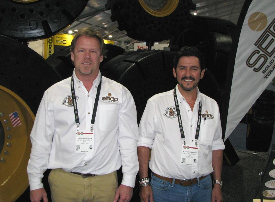 Chris Brogdon (L) and Roy Camargo stand at SETCO exhibit at ConExpo 2017.