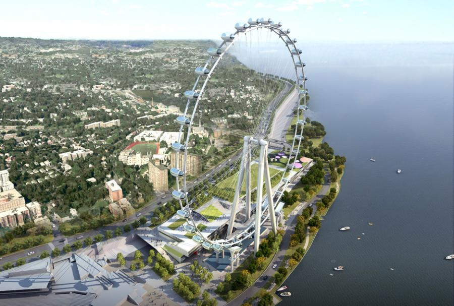 A snag in the construction of the future 630-foot high observation wheel could potentially hinder the project. (www.dezeen.com photo)