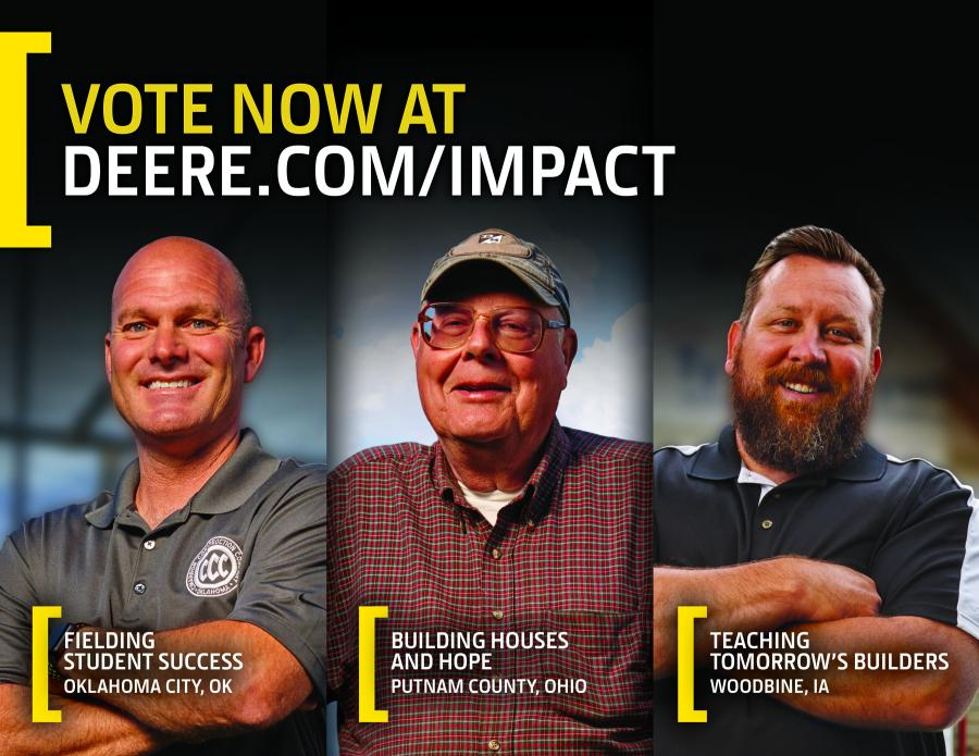 From June 15 to July 5, the public is invited to help choose which of the finalists' community projects will become a reality with the power of a G-Series machine. View finalist videos and vote for a winner at Deere.com/Impact.