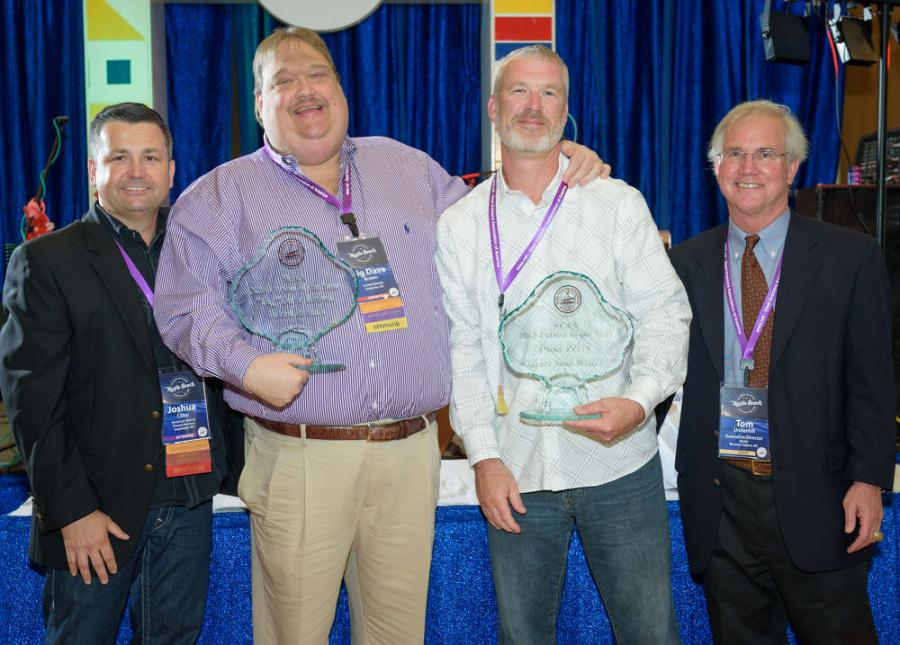 SEAA selected two individuals, both representing suppliers to the steel erection industry, for the Person of the Year 2017 award. (L-R) are Josh Cilley, SEAA president; Dave Brown Sr., United Rentals; Duke Perry, Bluearc Stud Welding; and Tom Underhill, SEAA executive director.