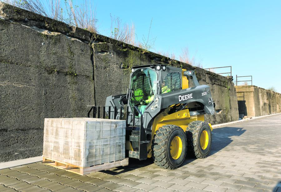 Two new pallet forks (PF45 and PF60) are optimized to work with John Deere G-Series skid steers as well as G- and E-Series compact track loaders (CTLs), along with another pallet fork that was specifically designed for use on K-Series compact wheel loaders with the skid steer-style Quik-Tatch coupler.