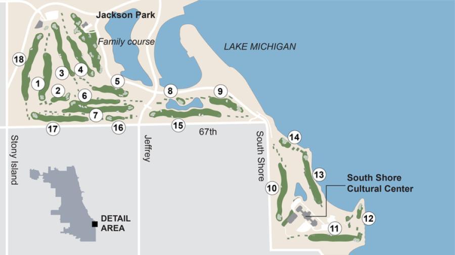 The layout of the par-70 course. (Chicago Tribune photo)