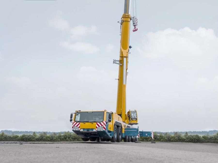 The six axle Demag AC 300-6 all-terrain crane, boasting a 350 ton (300 t) classification, features an 262.5 ft. (80 m) main boom and is the first crane of its size in the Demag range equipped with a luffing jib.