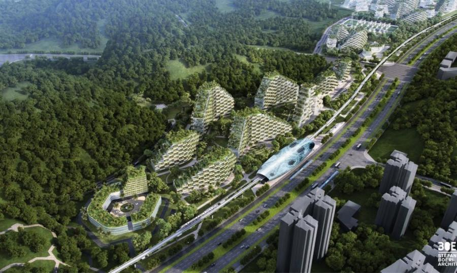 Liuzhou Forest City will be self-sufficient, running on renewable energy sources such as geothermal and solar energy. (Stefano Boeri Architetti rendering)