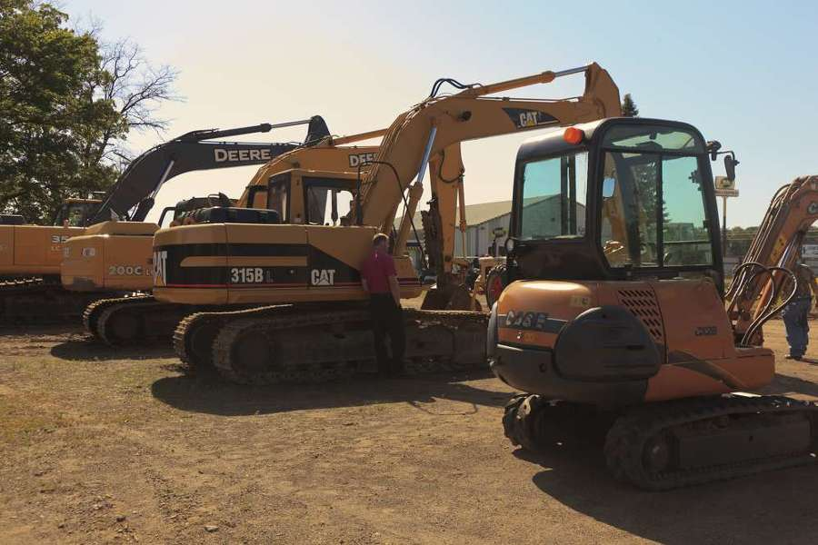 The sale featured a variety of excavators.