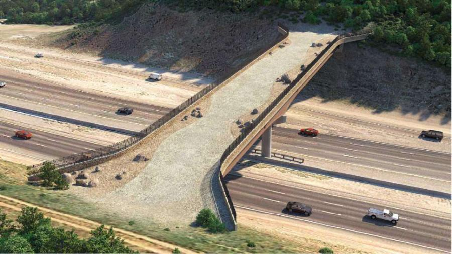 A rendering shows the proposed wildlife bridge on Parleys Summit. 