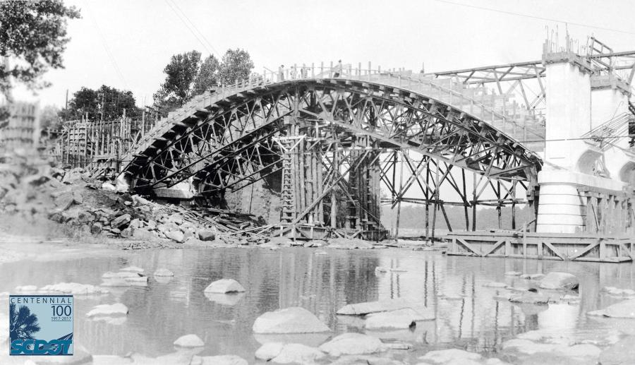 The Gervais Street Bridge under construction in Columbia in 1927.