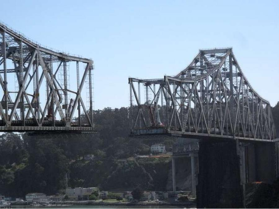 The dismantled San Francisco-Oakland Bay Bridge. (wnyc.org photo)