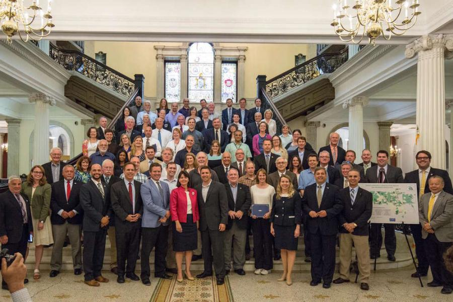 Lt. Gov. Karyn Polito, joined by state energy officials, awarded $14,043,257 in Green Communities competitive grants to 72 municipalities across Massachusetts to fund clean energy projects.