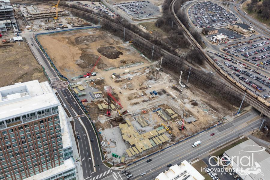 Construction teams in Nashville, Tenn., are working on the latest phase of a roughly $750 million, 32-acre mixed-use project that will feature offices, retail shops, restaurants, upscale multi-family residential units, hotels and a 2.5 acre urban activity park when complete.