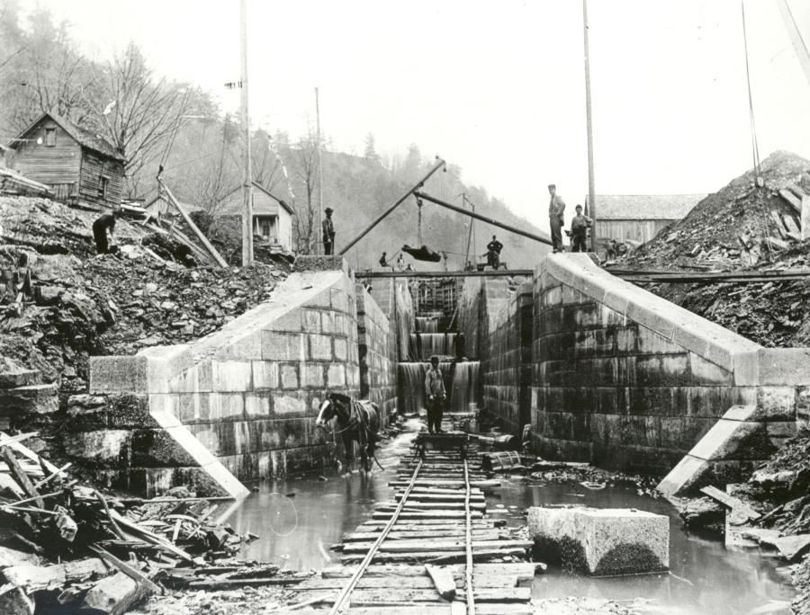 Canal lock construction in the mid-1800s in Boonville, N.Y.