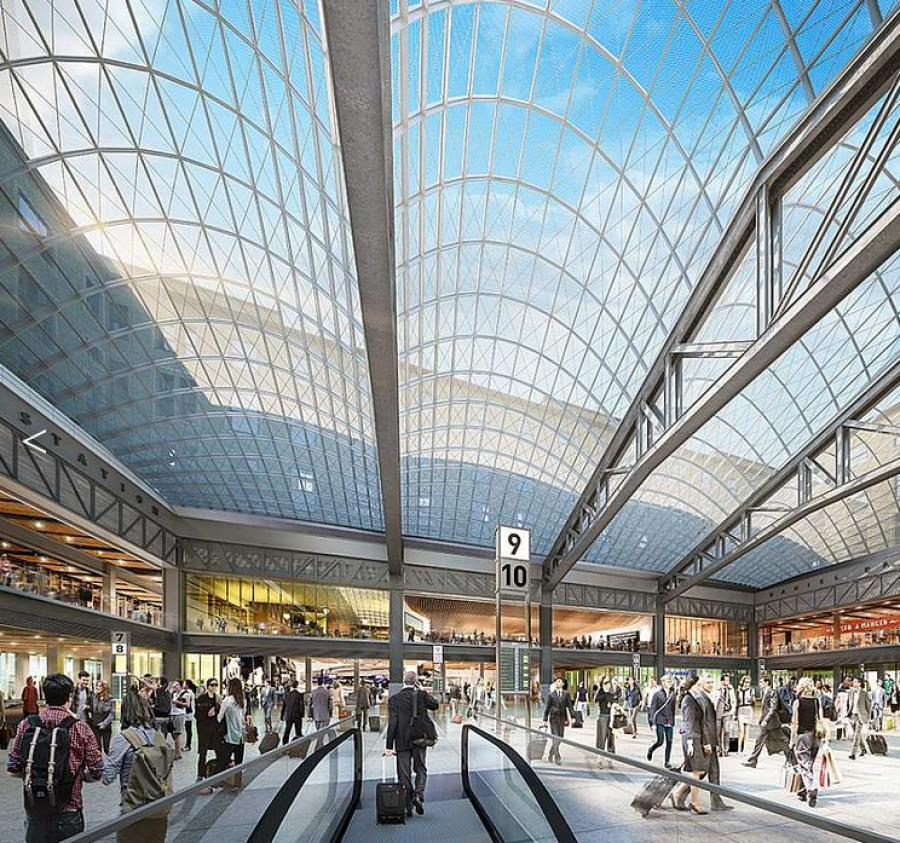 Located in the James A. Farley Post Office Building, the project will be the new home of Amtrak and will serve as the arrival and departures hall for all Amtrak passengers in New York City. (Image by SOM & Methanoia Inc. — Courtesy Gov. Andrew Cuomo's office.)