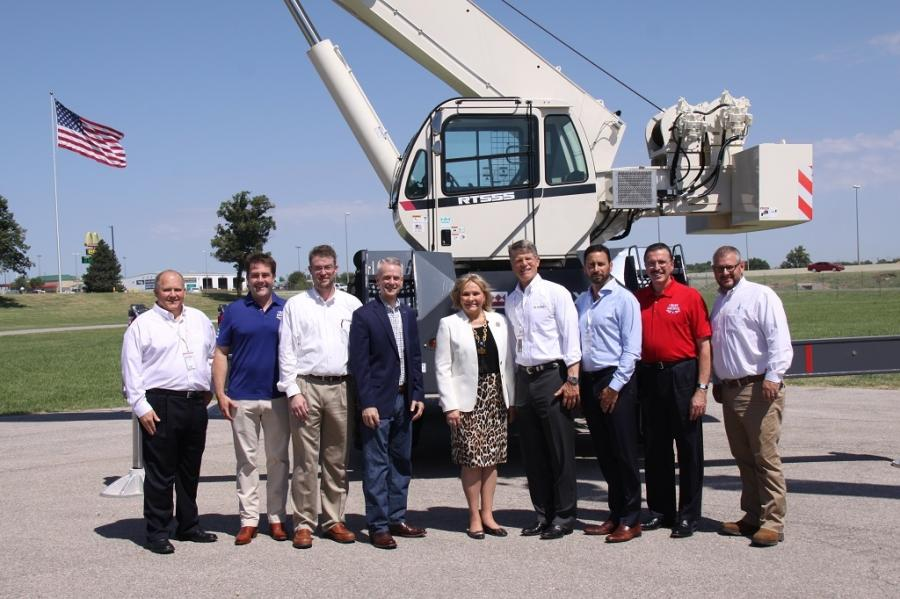 Left to right: George Ellis, Kyp Eidburg (AEM), Don Anderson, Rep. Steve Russell, Gov. Mary Fallin, John Garrison, Steve Filipov, Dennis Slater (AEM), James Hooper.