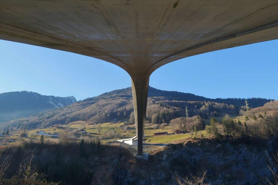 Underneath Switzerland's Taminabrücke bridge.
