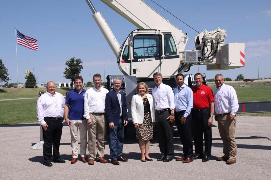 (L-R) are George Ellis, Kyp Eidburg, both of AEM; Don Anderson; Rep. Steve Russell; Gov. Mary Fallin; John Garrison; Steve Filipov; Dennis Slater of AEM; and James Hooper.