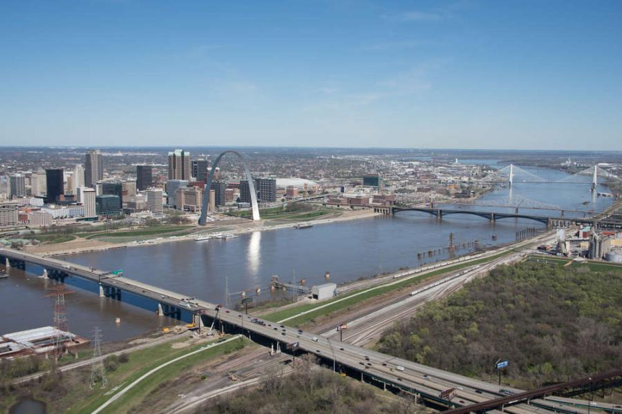 "KCI Construction Co. crews are fully engaged in the Missouri Department of Transportation's (MoDOT) ongoing $80 million Congressman William ""Bill"" Clay Sr. bridge, commonly known as the Poplar Street Bridge project."