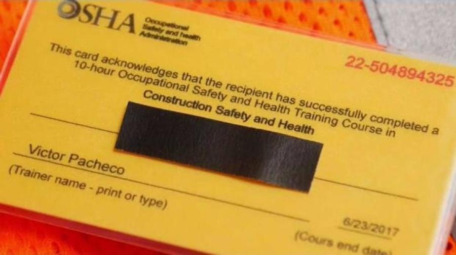 city takes new tactic in confiscating fake osha training cards ...