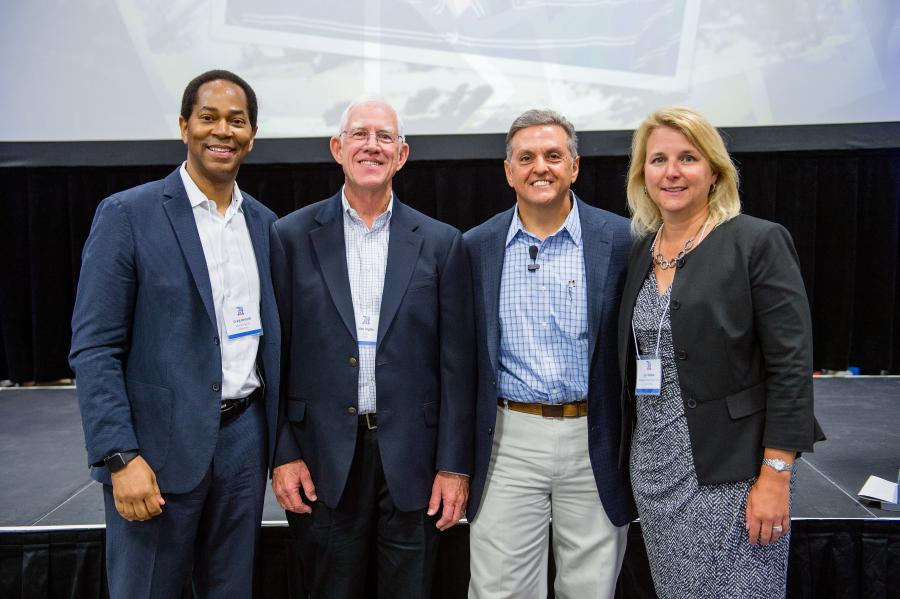 (L-R): Craig Arnold, chairman and CEO of Eaton Corporation; Jim Inglis, CEO, HSC; John Serra, president, Hydraulic Supply Company and Lori Kieklak, president of Eaton Hydraulics — Americas.