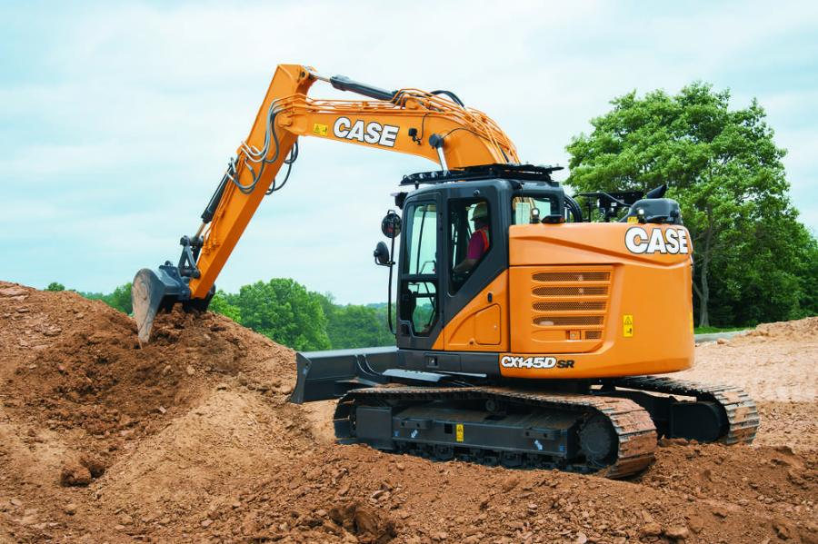 With an operating weight of 32,100 pounds and a 102 HP Tier 4 Final engine, the CX145D SR offers bucket digging forces up to 21,400 foot-pounds and lift capacities up to 21,350 pounds.