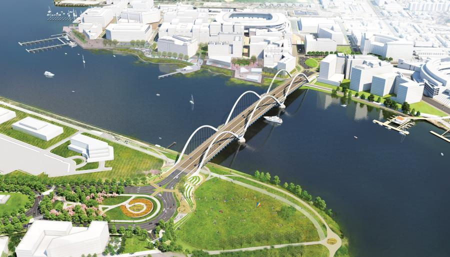 The new $441M bridge design includes three above-deck arches that capture the District's arch history, two piers that will appear to float in the river, and four pedestrian overlooks.