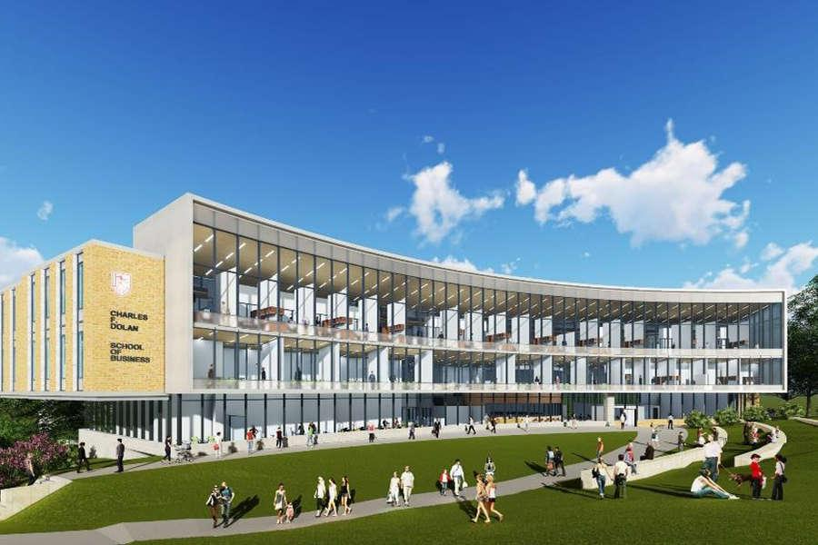 Fairfield University's Charles F. Dolan School of Business will relocate to a new academic building scheduled to open in the fall of 2019.