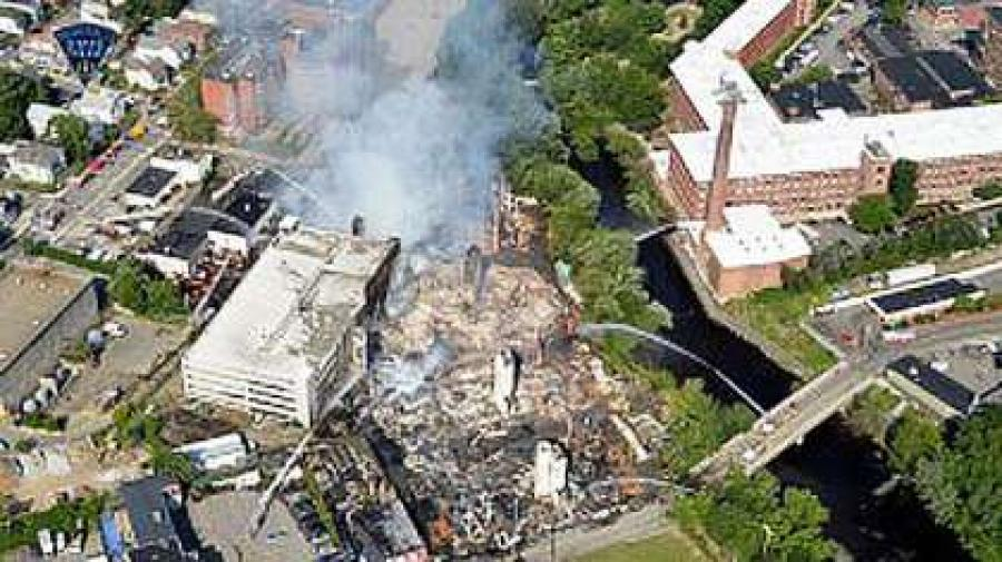 An aerial view of the fire in Waltham.  (Massachusetts State Police photo)