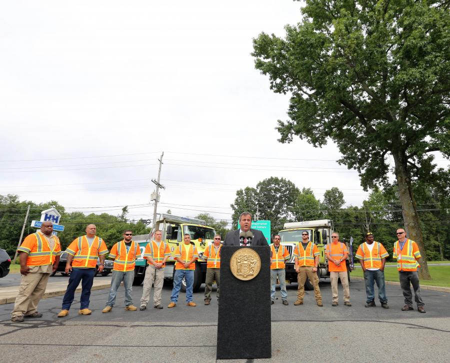 Gov. Christie discusses NJDOT transportation projects at an event on July, 27.