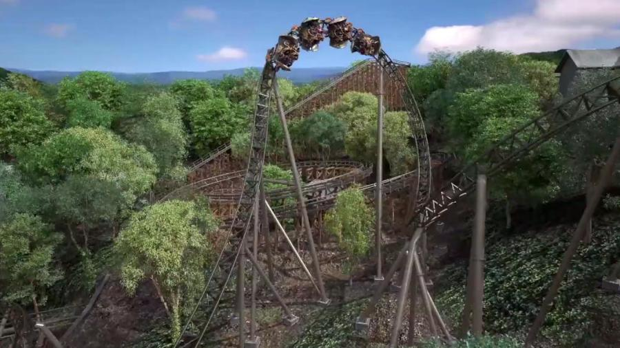 A rendering of the Time Travel coaster.