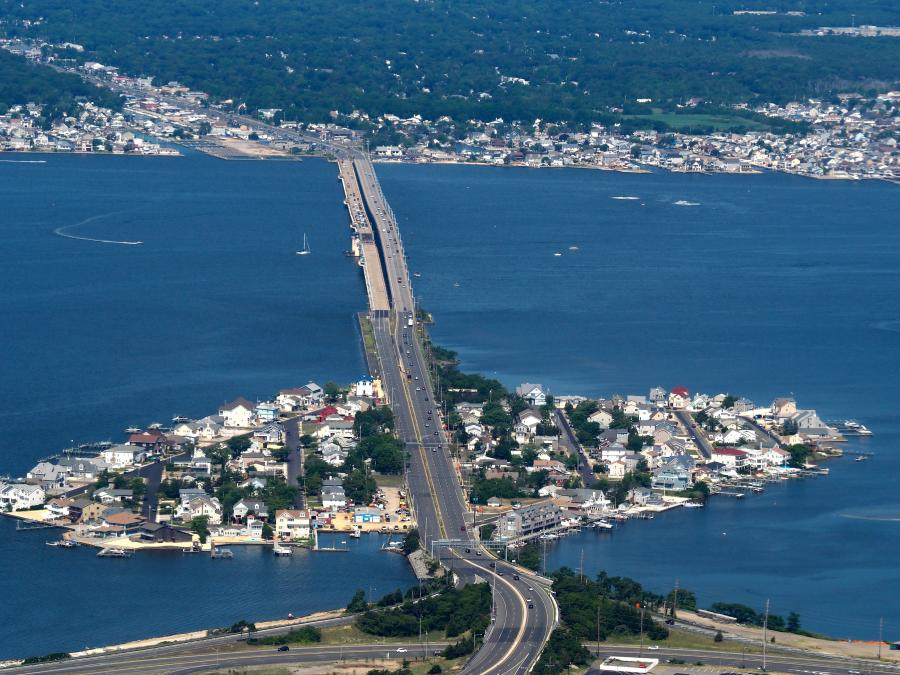 A mile-long bridge carrying Route 37 over Barnegat Bay between Toms River and Seaside Heights in Ocean County, N.J., is currently undergoing a $74 million replacement.