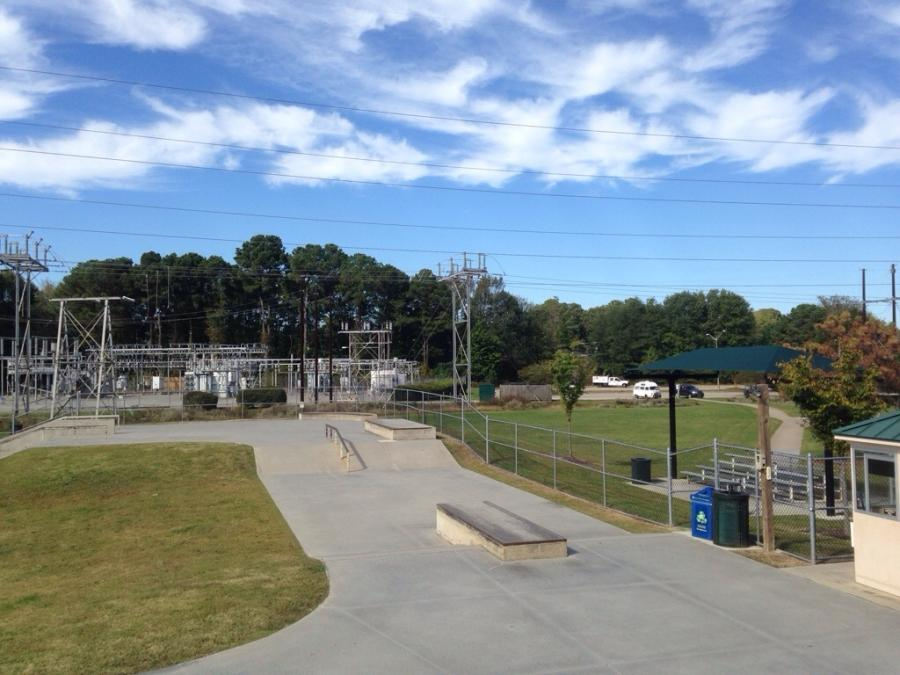 When complete, the water-tank-skate-park combination would replace this existing skating area at Woodstock Park in Virginia Beach.