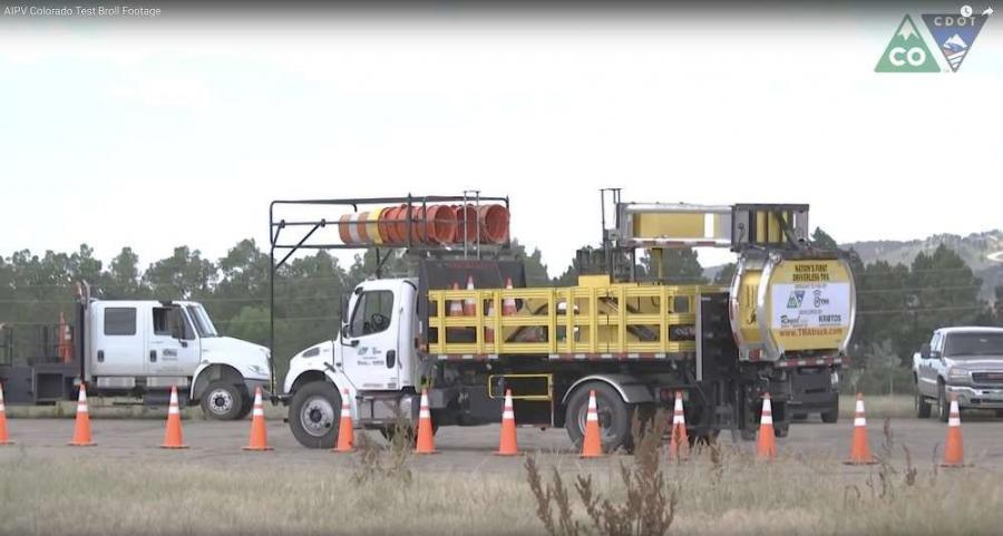Customarily positioned behind road construction crews in order to protect workers from the traveling public, the Autonomous Impact Protection Vehicle (AIPV) increases work zone safety by removing the driver from a truck that is actually designed to be hit. (CDOT image)