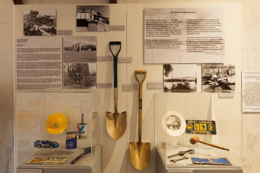 "The ""Transportation in West Virginia"" exhibit, which opened Sept. 5 at the Culture Center in Charleston, W.Va., features highlights of the construction of 38,770 miles of public roads through the state's hilly terrain. (Photo Credit: Craig Hudson, Gazette-Mail)"