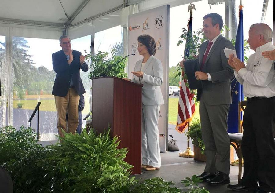 The Indiana governor's office said U.S. Transportation Secretary Elaine Chao joined Gov. Eric Holcomb and other officials at the Aug. 29 events.The Indiana governor's office said U.S. Transportation Secretary Elaine Chao joined Gov. Eric Holcomb and other officials at the Aug. 29 events.