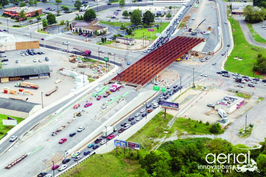 "Installation of the giant girders connecting the north and south sides of the so-called ""Bridge Over Broad"" has required a great deal of planning and effort.
