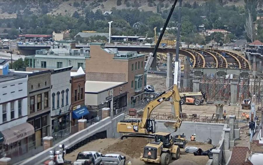 Crews began setting nine steel tub girders for the new Grand Avenue Bridge.