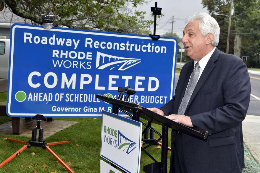 Department of Transportation Director Peter Alviti Jr. during a ribbon-cutting ceremony for the completion of the High Street and Kingstown Road improvement project. (Michael Derr photo)