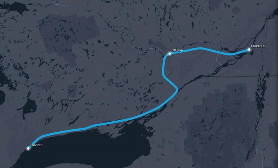 Toronto to Montreal Route