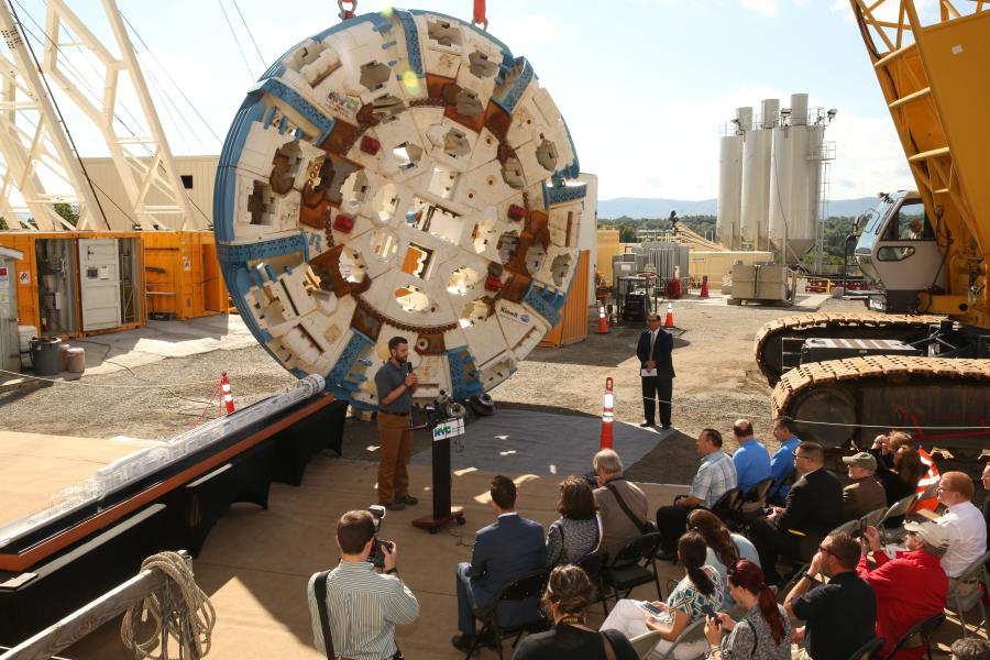 The New York City Department of Environmental Protection (DEP) was joined by federal, state and local representatives, honored guests and dozens of construction workers to mark the start of tunneling for the Delaware Aqueduct Bypass Tunnel. (NYC Water Flickr photo)