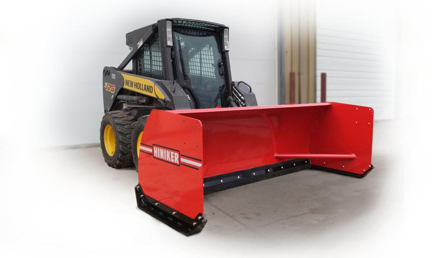 Hiniker Company's 3600 Series skid steer snow pushers are available in 96- and 120-in. (244 and 305 cm) widths and feature a durable rubber cutting edge for cleaning on paved surfaces.